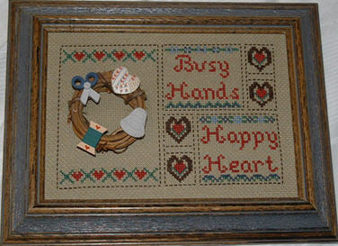 Busy Hands Counted Cross Stitch Picture.
