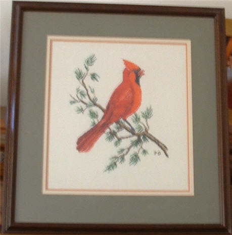 Cardinal Counted Cross Stitch Picture.