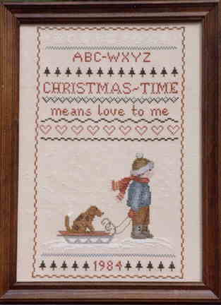 Picture of Christmas Time Counted Cross Stitch.