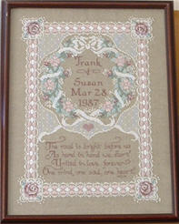 Cross Stitch Wedding Sampler- pattern from Cross Stitch & Country Crafts magazine.