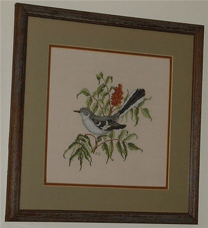 Cross Stitched Northern Mockingbird.