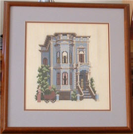 Photograph of Painter Lady Victorian House Counted Cross Stitch.