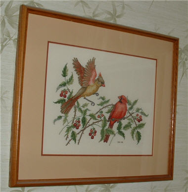 Picture of Red Birds and Raspberries Counted Cross Stitch Picture.