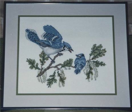 Blue Jay And Baby Cross Stitch Birds Crossed Wing Collection